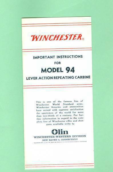 Winchester Model 94 Post 1931 Owners Manual Reproduction