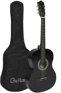 "Beginner & Kids Birthday Gift - Cowboy 38"" Acoustic Guitar Cutaway Design With Guitar Case, Strap and Pick - Black Color"