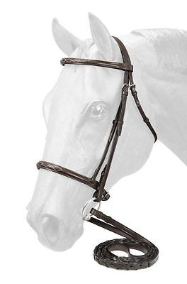 Equiroyal BROWN Leather HORSE-Sized Fancy Stitched English Bridle 22-9558-7