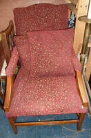 Vintage Red Pattern Cushion Chair