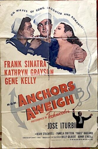 Anchors Aweigh, Starring Gene Kelly & Frank Sinatra, Original Movie Poster, 1945