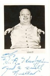 "Vintage antique ""Sealo"" sideshow postcard – pitch card"