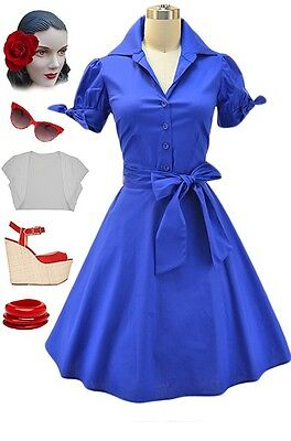 PLUS SIZE 50s Style ROYAL BLUE Tie Sleeve Full Skirt Rockabilly PINUP Day Dress
