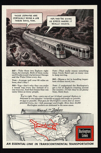 1943 WWII - BURLINGTON LINES Zephyrs Trains - Way Of The Zephyrs - VINTAGE AD