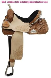 "14"" 15"" 16"" Western Barrel Racing Saddles $747 Leather FULL Bars London Ontario image 10"