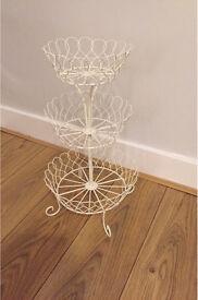 Three tier wirework cake stand display basket bakery cream vintage style
