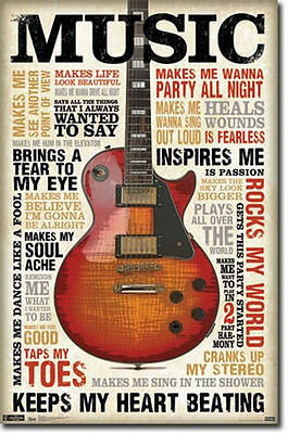 Music Inspires Me   Quotes Poster   22X34 Motivational Guitar 5742