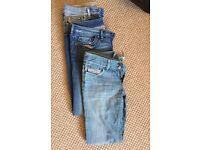 3 pairs of women's Diesel jeans
