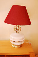 Table Lamp - White and gold Glass Center with Gold Accents