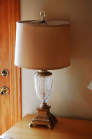 Crystal Table Lamp with gold Shade