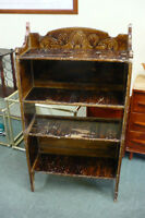 Antique Solid Wood Bookcase Shelving Unit Used Rustic Old