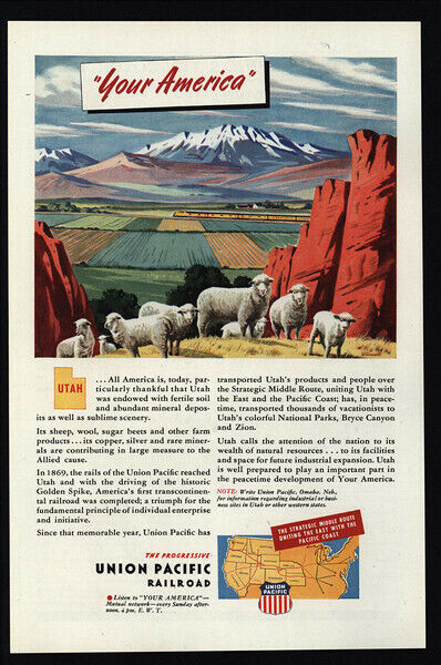 1945 UNION PACIFIC Railroad - Train - Your America - UTAH - Sheep -  VINTAGE AD