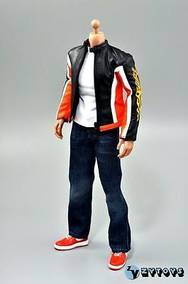 ZY Toys Men's Orange Leather Motorbike Jacket Trouser Suit Full Set 1/6