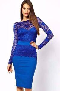 Blue/Red Long Sleeves Lace Midi Party Dress Size 10 Ascot Brisbane North East Preview