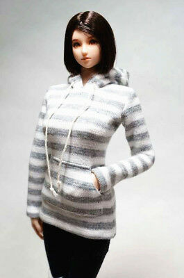1:6 Female Lone-Sleeved Gray Striped Sweater Hoodie Clothes Fit 12