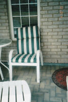 4 Patio Chairs/Cushions - Great Shape + 1 sm whitetable to match