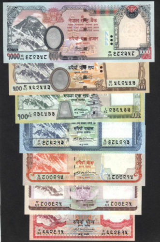 NEPAL EVEREST BANKNOTE Rs 5 to 1000 COMPLETE set of 7 with sign 16,17 & 18 UNC