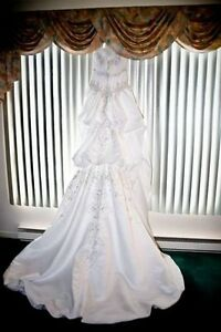 Silver Beaded White Wedding Dress - new price!!!