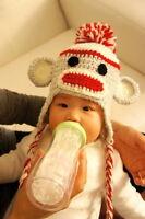 Sock Monkey crochet hat for newborns and infants hand knit