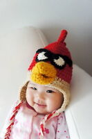Red Angry Birds Hat - Crochet newborn hat for infant baby knit