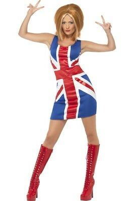 Ginger Spice Womens Costume Spice Girls Union Jack Dress Geri Halliwell 90s