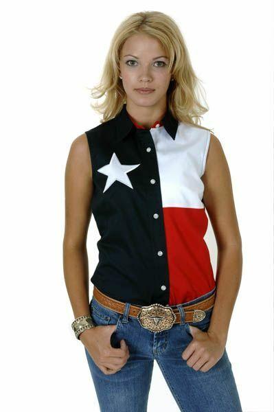 Roper Ladies Sleeveless Texas Pieced Flag Shirt