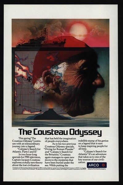 1978 JACQUES COUSTEAU Art - CALYPSO Ship Captain - Odyssey - ARCO VINTAGE AD