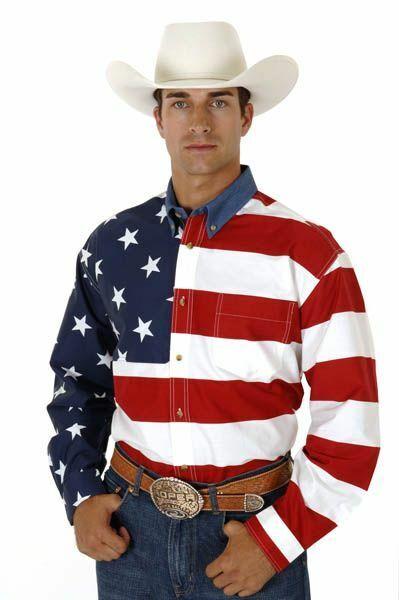 Roper Mens Patriotic Stars & Stripes American Flag Long Sleeve Button Shirt