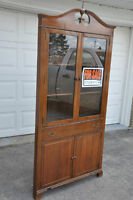 Antique China  Corner Cabinet Etched Glass