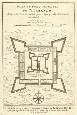 'Plan du Fort Anglois de Commendo'. Fort Komenda, Ghana. BELLIN/SCHLEY 1748 map