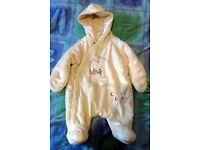 2x 'Winnie the Pooh' winter coat onsie and pj onsie 0-3 months