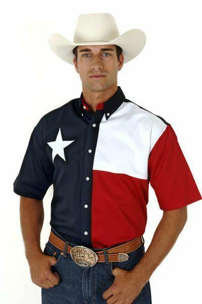 Roper Mens Texas Flag Short Sleeve Shirt