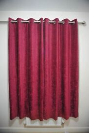 Chenille Cranberry Lined Eyelet Curtains. Like new