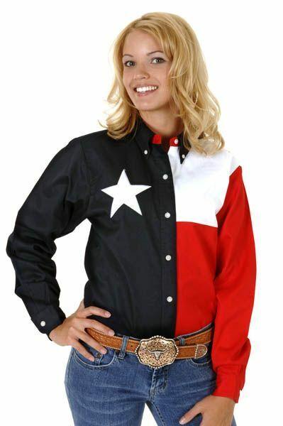Roper Ladies Texas Pieced Flag Long Lseeve Snap Shirt