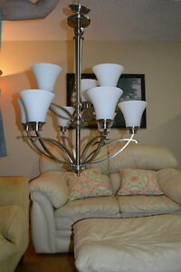 2-  Almost new brushed silver chandeliers
