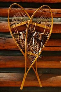 GREAT Vintage Pair of indian made Snowshoes, With vintage Poles