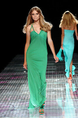 VERSACE Green long grecian 2008 plaited open back detail dress 42 , UK 10