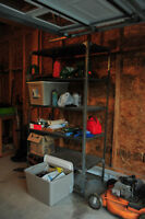 Metal shelving unit for storage in garage