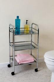 3 tier Metal Trolley - chrome finish - Bathroom Kitchen