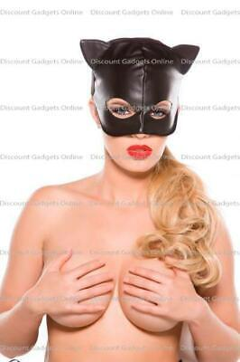 Cat Costumes Accessories (Black Faux Leather Cat Mask O/S Costume Lingerie Clothing)