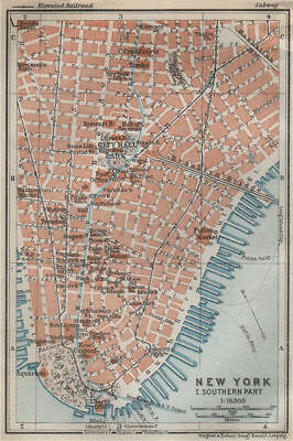 LOWER MANHATTAN Financial District Tribeca Battery Park. NYC City plan 1909 map