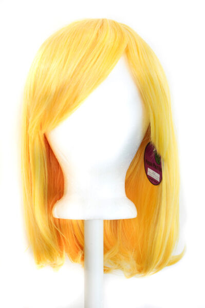 "15"" Shoulder Length Straight Cut with Long Bangs Daffodil Yellow Cosplay Wig NEW"