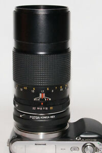 ! Konica Hexanon 135mm f3.2 + adapter for Sony E