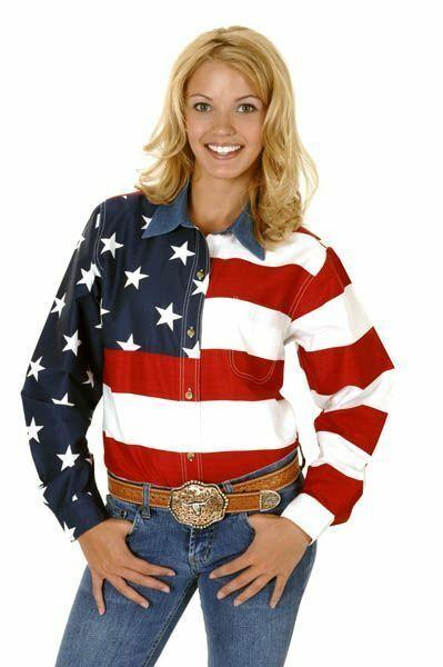 Roper Ladies American Flag Western Shirt
