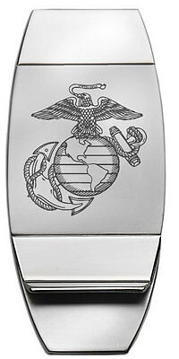 new UNITED STATES MARINE CORPS ENGRAVED SILVER MONEY CLIP USMC military Marines