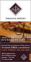MTS PARALEGAL SERVICES - SMALL CLAIMS COURT... IT'S WHAT WE DO!