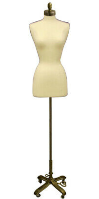 Female Dress Form Pinnable Foam Mannequin Torso Size 6-8 With Gold Wheel Base
