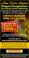 JOHN VICTOR LENNON SINGERS-SONGWRITERS CONTEST TOURS