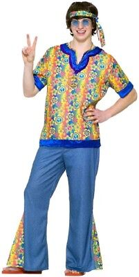 Teen Far Out Hippie Dude Halloween Costume Boys Kids 60s 70s Hippy Peace Tween