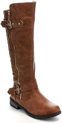Women Knee High Horse Riding Boots Zip Up Side Zipper Black Brown Tan Comfort